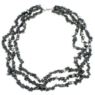 Pearlz Ocean Sterling Silver Hematite 3-row Chip Necklace