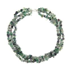Pearlz Ocean Sterling Silver Fluorite 3-row Chip Necklace