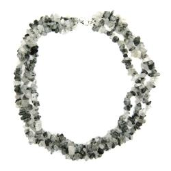 Pearlz Ocean Sterling Silver Rutilated Quartz 3-row Chip Necklace