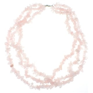 Pearlz Ocean Rose Quartz Triple Strand Chip Necklace