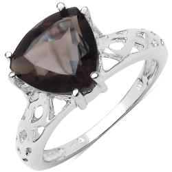 Malaika Sterling Silver Trillion Smokey Topaz Ring (3 1/10ct TGW)