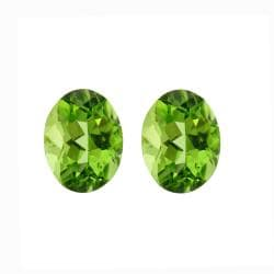 Glitzy Rocks 8x6 Oval-cut Peridot Stones (2 3/4ct TGW) (Set of 2)