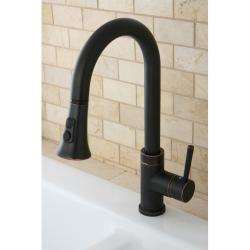 Kitchen Two-Tone Oil Rubbed Bronze Single Handle Faucet with Pull Down Spout