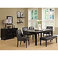 Dark Espresso Veneer Top Dining Table with Extension Leaf