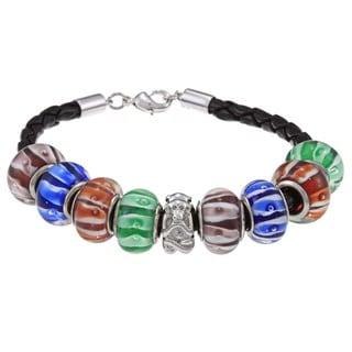 La Preciosa Silvertone Multi-Colored Glass Beads Leather  Bracelet
