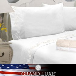 Grand Luxe Egyptian Cotton Sateen 1200 Thread Count Swirl Deep Pocket Sheet Set and Pillowcase Separates