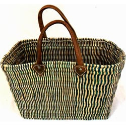 Handcrafted Straw and Leather Turquoise Tote Bag (Morocco)