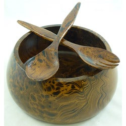 Classic Mango-Wood Serving Bowl with Salad Severs (Thailand)