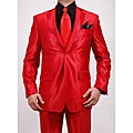 Ferrecci Men's Shiny Red Two-button Two-piece Slim Fit Suit