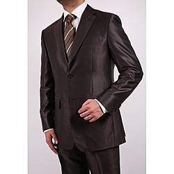 Ferrecci Men's Shiny Brown Two-button Two-piece Slim Fit Suit