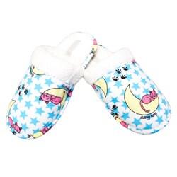 Leisureland Women's Blue Sleepy Cat Flannel Slippers