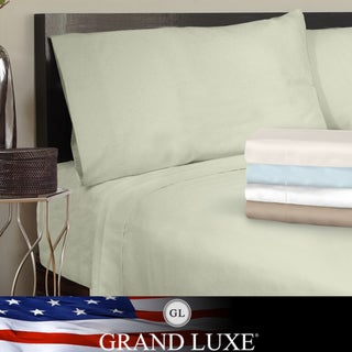 Grand Luxe Egyptian Cotton Sateen 300 Thread Count Solid King-size Deep Pocket Sheet Set
