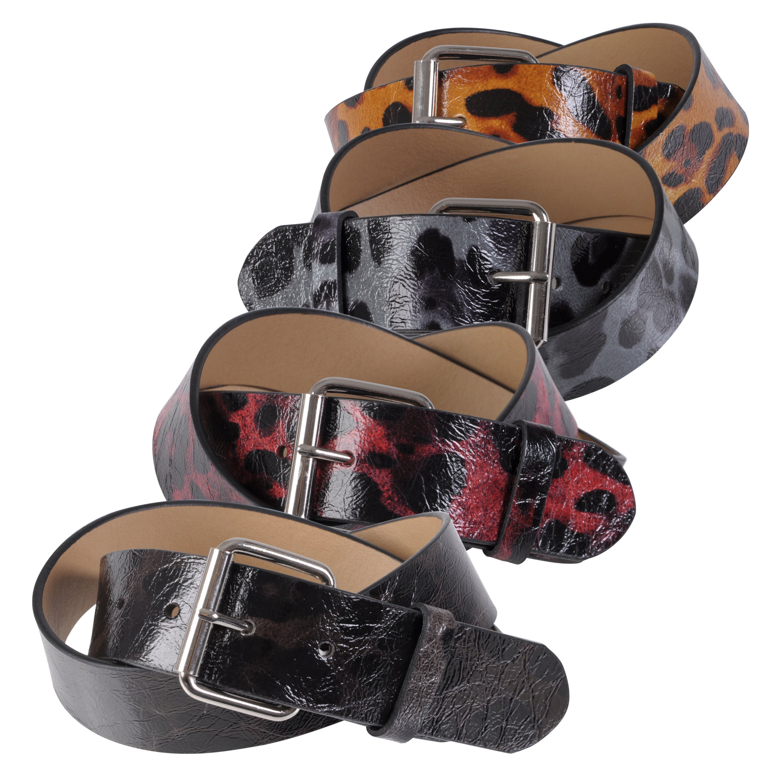 Journee Collection Women's Patent Leather Leopard Print Belt