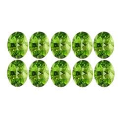 Glitzy Rocks 6x4 Oval-cut Peridot Stones (5ct TGW) (Set of 10)
