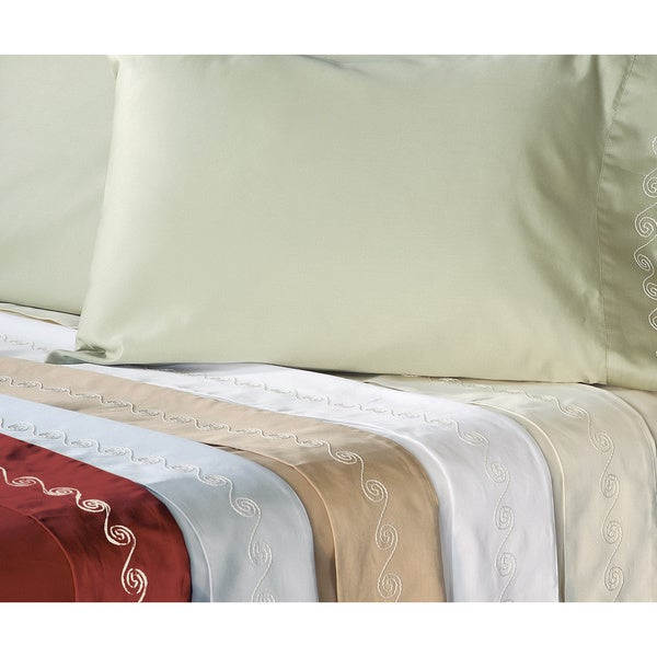 Grand Luxe Egyptian Cotton 500 Thread Count Swirl King-size Deep Pocket Sheet Set