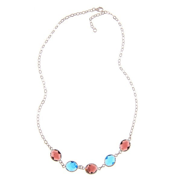 La Preciosa Sterling Silver Purple and Blue Glass Necklace 8640333