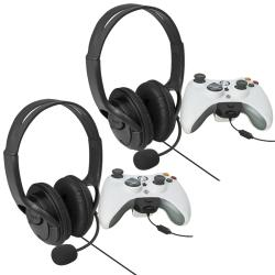 INSTEN Black Headset with Microphone for MicroSoft Xbox 360 (Pack of 2)