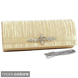 Dasein Rhinestone Brooch Pleated-satin Clutch with Shoulder Strap
