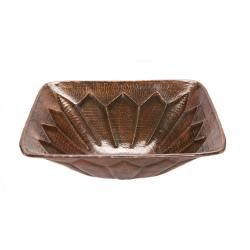 Premier Copper Products Square Hammered Copper Feathered Vessel Sink