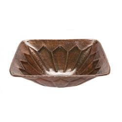 Square Hammered Copper Feathered Vessel Sink