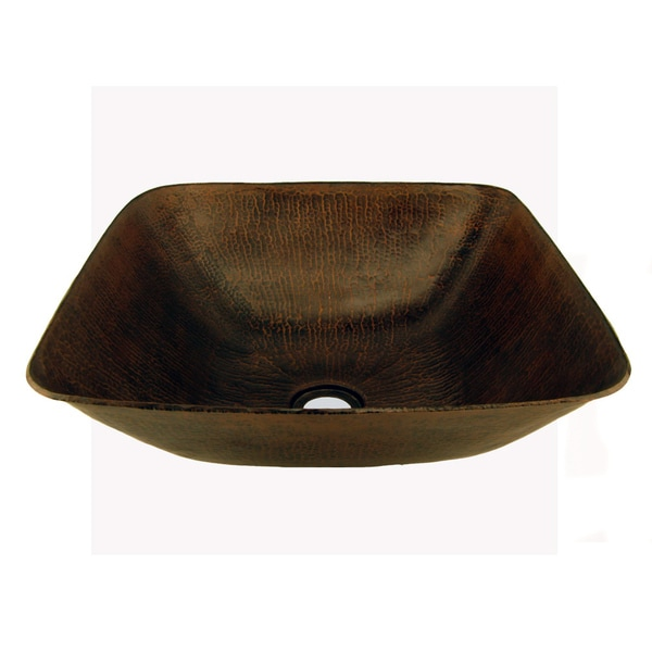Square Hammered Copper Vessel Sink