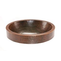Oval Skirted Hammered Copper Vessel Sink