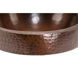 Round Skirted Hammered Copper Vessel Sink