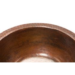 Round Hammered Copper Bar Sink with 2-inch Drain
