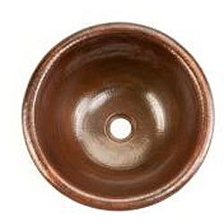 Premier Copper Products Small Round Self Rimming Hammered Copper Sink