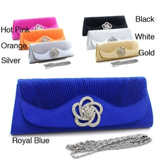 Dasein Floral Rhinestone Ornamented Pleated Satin Clutch