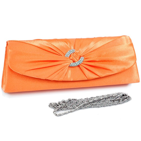 Dasein Rhinestone Ring Accented Satin Clutch