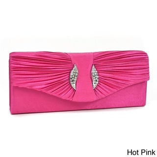 Dasein Rhinestone-accented Pleated-front One-pocket Satin Clutch