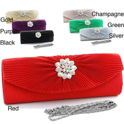 Dasein Floral Rhinestone Brooch Pleated Silvertone Satin Clutch