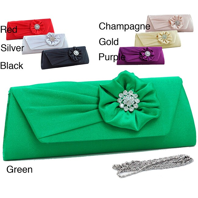 Dasein Rhinestone Accented Flower Satin Clutch