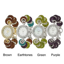 Geneva Platinum Women's Rhinestone Toggle Watch
