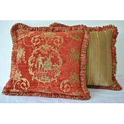 Sherry Kline 18-inch 'La Toile' Cinnamon Red Pillow (Set of 2)
