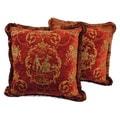 Sherry Kline 18-inch 'La Toile' Cinnamon Red Pillow (Set of 2)