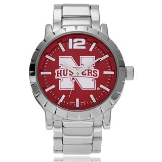 Geneva Platinum Men's Nebraska Huskers Link Watch