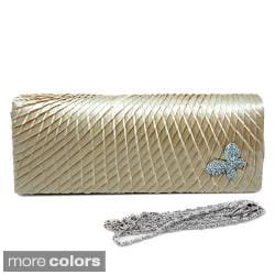Dasein Rhinestone Butterfly Ornament Pleated Satin Clutch