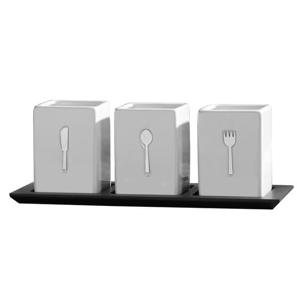Towle Living Ceramic Caddy on Wood Tray (3-piece)