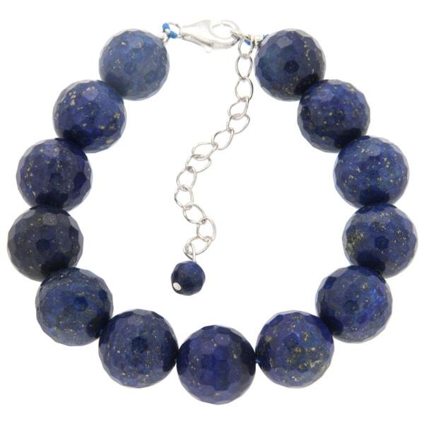 Pearlz Ocean Sterling Silver Lapis Lazuli Faceted Bead Bracelet
