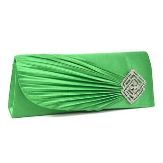 Dasein Rhinestone Ornament Pleated Satin Clutch