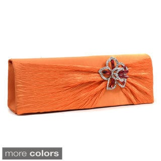 Dasein Floral Rhinestone Brooch Pleated Satin Clutch