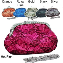 Dasein Rhinestone Accented Lace Overlay Satin Evening Bag