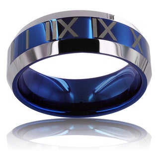 Men's Tungsten Carbide Blue Center Roman Numeral Design Ring (8 mm)