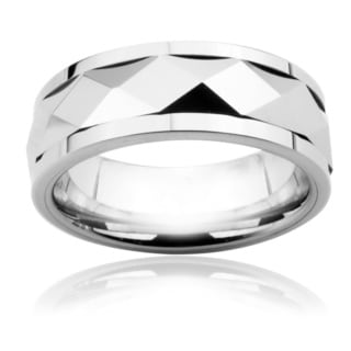 Men's Tungsten Carbide Diamond Faceted Spinner Ring (8 mm)