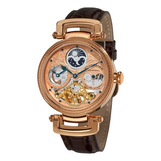 Stuhrling Original Men's Magistrate Rosetone Skeleton Automatic Watch with Brown leather Strap