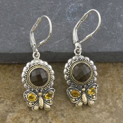 14k Gold and Silver Smoky Topaz, Citrine Butterfly Earrings (Indonesia)