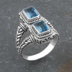 Sterling Silver Blue Topaz Two-Stone 'Cawi' Ring (Indonesia)
