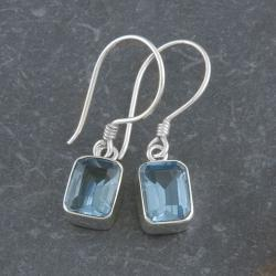 Sterling Silver Emerald-cut Blue Topaz Earrings (Indonesia)